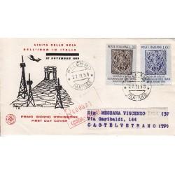 FDC ITALIA 1958 S.A.N.I.A.F. - 846 - Visita in Italia dello Scia dell'Iran - Annullo Palermo Raccomandata