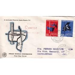 FDC ITALIA 1958 S.A.N.I.A.F. - 849 - X Premio Italia concorso internazionale Radio TV - Annullo Palermo