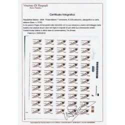 I 2009 - 3157 - Posta italiana - Busta che spicca il volo 2,00 € Foglio con VARITA' MNH