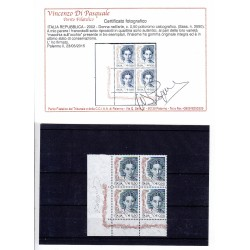 Repubblica Italiana Varietà 2002 Donna d'arte € 0,50 in quartina (Sass. n.2590)