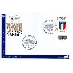 FDC ITALIA 18/2014 Fondazione del CONI A/Palermo codice a barre bs