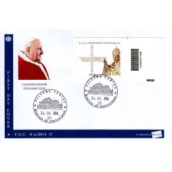 FDC ITALIA 09-a/2014 Canonizzazione papa Giovanni XXIII A/Pa codice a barre da