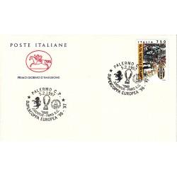 FDC ITALIA 1997 MARCOFILIA ANNULLO SPECIALE 05/02/1997 SUPERCOPPA EUROPA 96-97