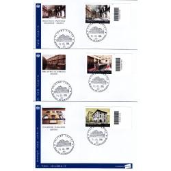 FDC ITALIA 15/a-b-c/2014 Le eccellenze del sapere a/Pa 3 buste codice a barre