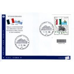 FDC ITALIA 17/2014 Convenzione  Italia - San Marino A/PA codice a barre