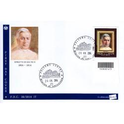 FDC - ITALIA 30/2014 - San Pio X , A/Pa + codice a barre bs
