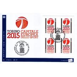 FDC - ITALIA 48/2015 Torino 2015 Capitale Europea Sport a/s quartina