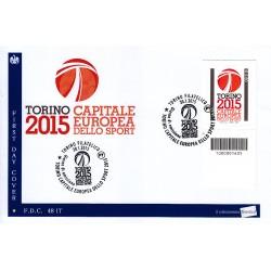FDC - ITALIA 48/2015 Torino 2015 Capitale Europea Sport a/s codice a barre bs
