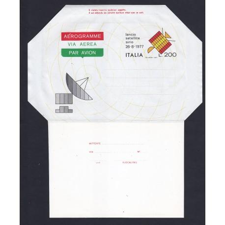 FDC ITALIA AEROGRAMMA A9 05/10/1977 SATELLITE SIRIO - NUOVO