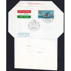 MARCOFILIA AEROGRAMMA A6 22/10/1976 GIORNATA STAMPA FILAT. AS/MI