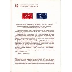Italia Bollettino illustrativo 1962 n°86 EUROPA CEPT