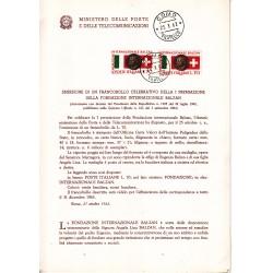 Italia Bollettino illustrativo 1962 n°87 Fondazione Balzan FDC