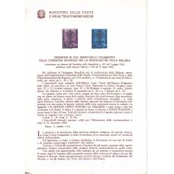 Italia Bollettino illustrativo 1962 n°88 Malaria Campagna Mondiale