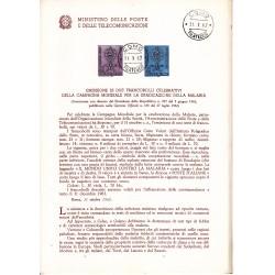 Italia Bollettino illustrativo 1962 n°88 Malaria Campagna Mondiale APG