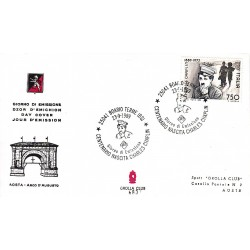 FDC ITALIA Grolla Club 23/09/1989 Charles Chaplin AS/BOARI APG