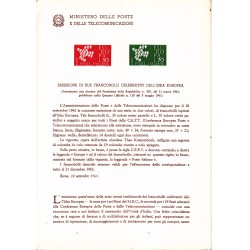 Italia Bollettino illustrativo 1961 n° 78 Europa Cept
