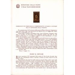 Italia Bollettino illustrativo 1961 n° 74 Plinio Il Giovane