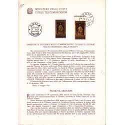 Italia Bollettino illustrativo 1961 n° 74 Plinio Il Giovane + affrancatura bdf in FDC