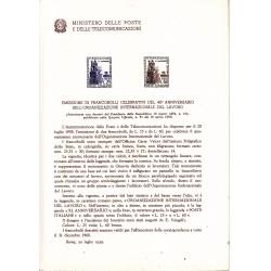 Italia Bollettino illustrativo 1959 n° 61 Organizzazione Internazionale Lavoro