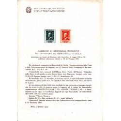 Italia Bollettino illustrativo 1959 n° 52 Francobollo di Sicilia
