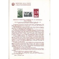 Italia Bollettino illustrativo 1958 n° 49 40° Anniversario della Vittoria