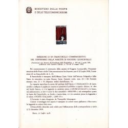 Italia Bollettino illustrativo 1958 n° 42 Ruggero Leoncavallo