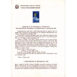 Italia Bollettino illustrativo 1958 n° 40 Esposizione  Bruxelles