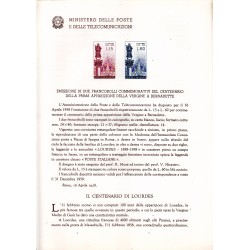 Italia Bollettino illustrativo 1958 n° 38 Apparizione Vergine A Bernadette