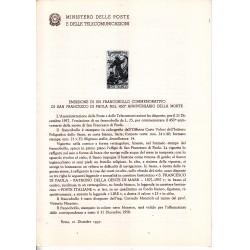 Italia Bollettino illustrativo 1957 n° 36 San Francesco