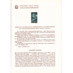 Italia Bollettino illustrativo 1955 n° 17 Giuseppe Mazzini