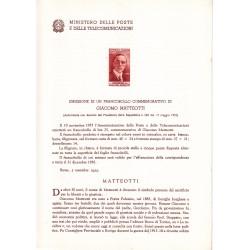 Italia Bollettino illustrativo 1955 n° 14 Giacomo Matteotti