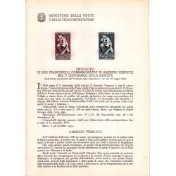 Italia Bollettino illustrativo 1954 Amerigo Vespucci