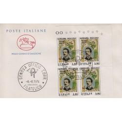 FDC ITALIA Poste Italiane 08/08/1974 Giacomo Puccini A/GE quartina