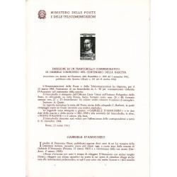 Italia Bollettino illustrativo 1963 n°93 Gabriele D'annunzio