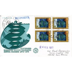 FDC ITALIA 1973 Filagrano Unif. 1198 Istituto Idrografico Marina quartina raccomandata
