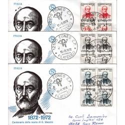 FDC ITALIA 1972 Filagrano Unif. 1168/0 Mazzini quartina raccomandata 3 buste