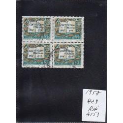 Italia Repubblica 1958 Unif. 829 costruzioni italiane MNH quartina