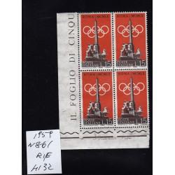 Italia Repubblica 1959 Unif.  861 propaganda olimpiadi  MNH quartina