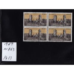 Italia Repubblica 1959 Unif.  863 propaganda olimpiadi  MNH quartina