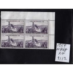 Italia Repubblica 1959 Unif.  868  guerra d'indipendenza  MNH quartina