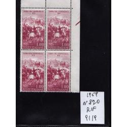 Italia Repubblica 1959 Unif.  870  guerra d'indipendenza  MNH quartina