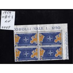 talia Repubblica 1959 Unif.  854  decennale nato  MNH  quartina