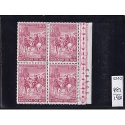 Italia Repubblica 1960 Unif.  883  spedizione mille  MNH  quartina