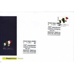 FDC ITALIA  Poste Italiane 07/01/2011 Unità D'italia Reggio Emilia città del Tricolore