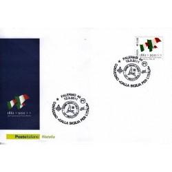 FDC ITALIA Marcofilia Annullo speciale 12/03/2011 PALERMO 48 150° An. Unità D'italia