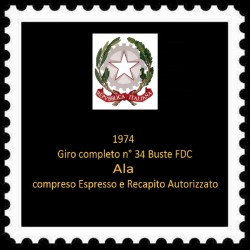 FDC ITALIA 1974 Ala Anno completo 35 buste Annulli vari