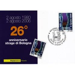 FDC ITALIA 2006 Cartolina Poste Italiane Unif. 2966 Strage di Bologna AS