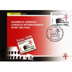 FDC ITALIA 2006 Cartolina Poste Italiane Unif. 2955 Sport Militare CISM