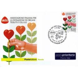 FDC ITALIA 2005 Cartolina Poste Italiane Unif. 2888 AIDO Donazione d'organi