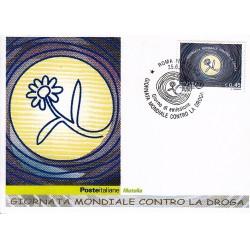 FDC ITALIA 2005 Cartolina Poste Italiane Unif. 2877 Giornata contro la Droga